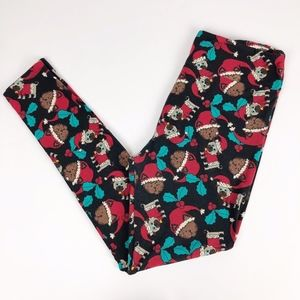 LuLaRoe Cats Dogs Santa Hat Holiday Leggings